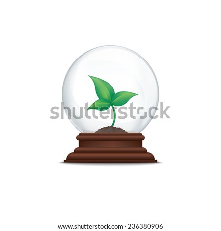 Sprout in glass ball - stock vector