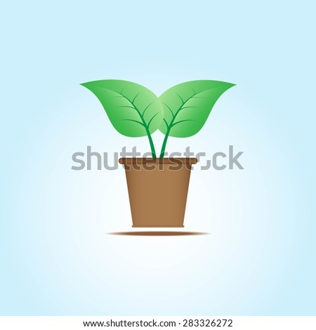 Sprout in Pot. Vector illustration - stock vector