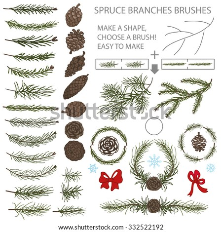 Spruce green branches,pine,cones brushes,line borders,wreath,.Christmas season.Tree decor elements for invitations,print,feb,card,banner.New year holiday vector,nature illustration,Winter template
