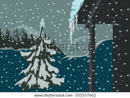 Spruce in the snow against the backdrop of mountains. Icicles hang down from the roof. - stock vector