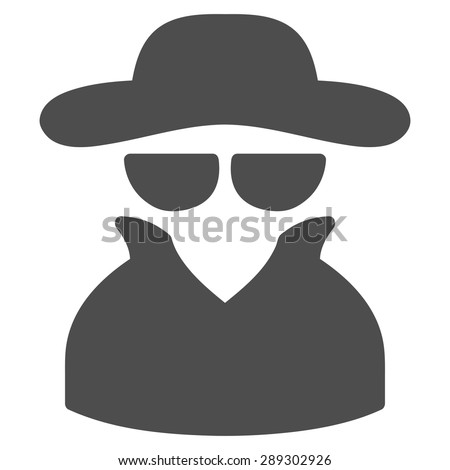 Spy icon from Business Bicolor Set. Vector style: flat symbol, gray color, rounded angles, white background. - stock vector