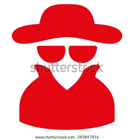 Spy icon from Business Bicolor Set. Vector style: flat symbol, red color, rounded angles, white background. - stock vector