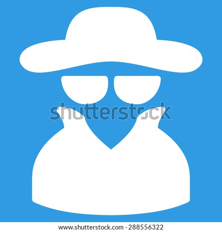 Spy icon from Business Bicolor Set. Vector style: flat symbol, white color, rounded angles, blue background. - stock vector
