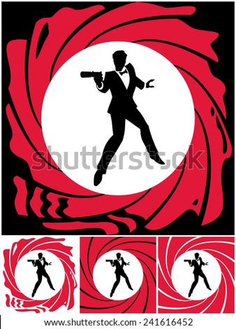 Spy: Silhouette of secret agent. No transparency and gradients used.  - stock vector