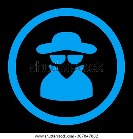 Spy vector icon. This rounded flat symbol is drawn with blue color on a black background. - stock vector