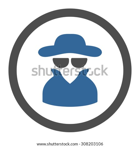 Spy vector icon. This rounded flat symbol is drawn with cobalt and gray colors on a white background. - stock vector