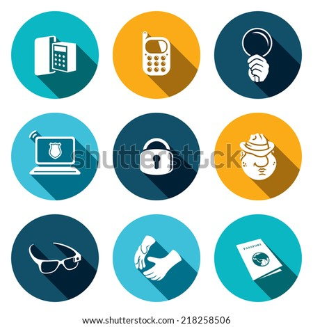 Spying vector icon set - stock vector
