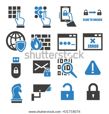 spyware, fire wall icon set