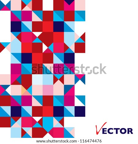 Square abstract background with triangle element and copyspace - stock vector