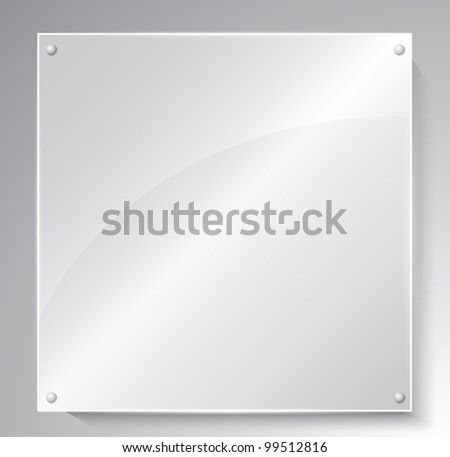 Square advertising glass board. Place your text on it