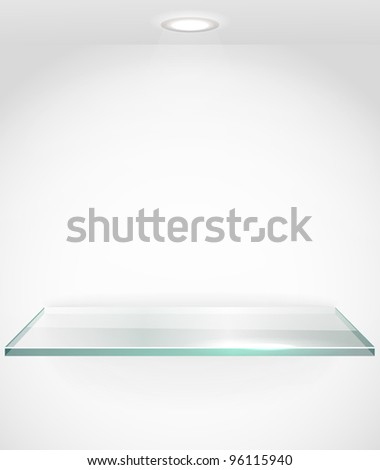 Square advertising glass board with a spot lignt. Place your text on it - stock vector
