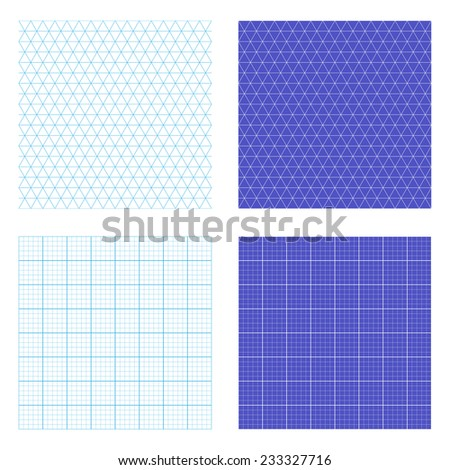 Square and isometric repeating graph paper vectors. Tileable vector wallpaper that repeats left, right, up and down  - stock vector