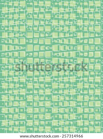 Square and line pattern over green color background - stock vector