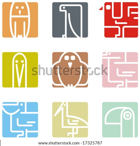 Square animal icon series - birds. - stock vector
