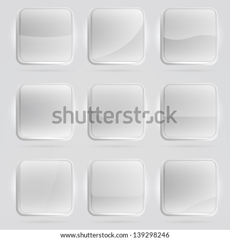 Square application white buttons or app banners with rounded corners and different gloss reflection effect over, eps10 vector - stock vector