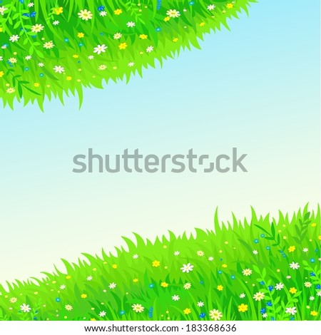 square background two green spheres from a grass and flowers against the sky