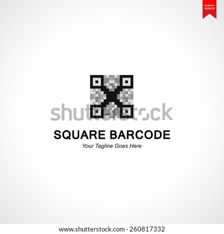 Square Bar code Logo elements, design, icons, symbols, vector, abstract, set, shapes, innovative and creative inspiration for business company, template collection, website and marketing promotions - stock vector