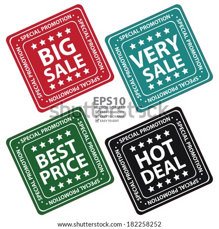 Square Big sale, Very Sale, Best Price and Hot Deal Icon, Label or Sticker for Special Promotion Isolated on White Background  - stock vector