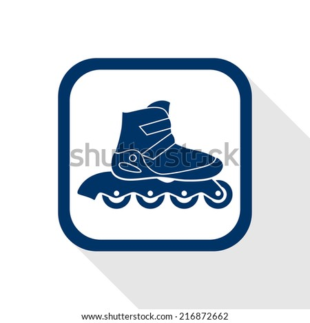 square blue icon  inline roller skate boot with long shadow - symbol of rollerskating, sport, recreation and motion - stock vector