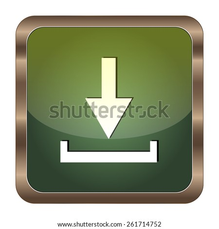 Square button download on the white background - stock vector