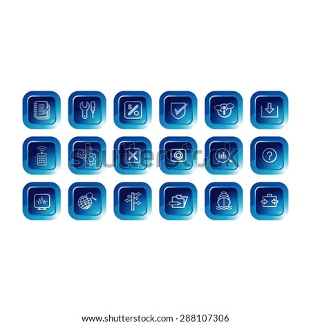 square button icon set in blue