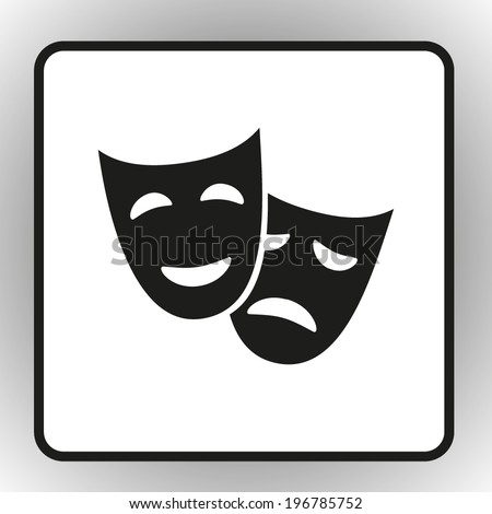 square button on a gray background facial mask symbol vector illustration - stock vector