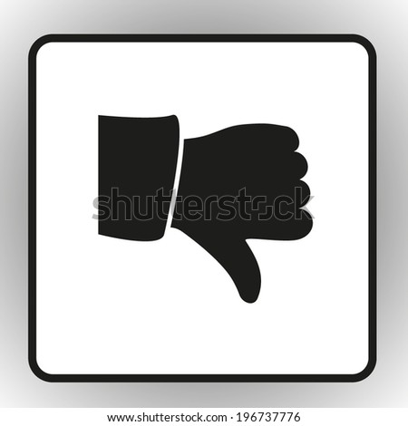 square button on a gray background. Vector illustration. Vector thumb down icons  - stock vector