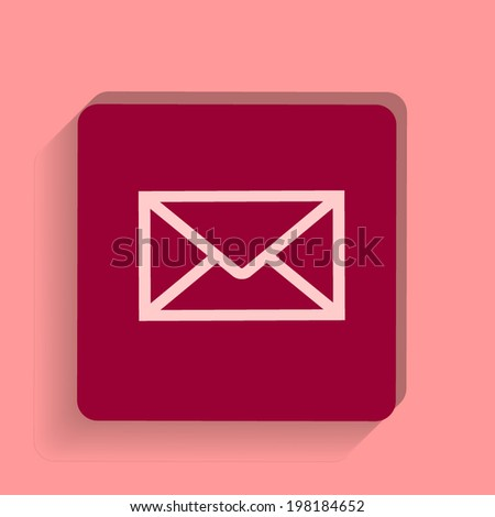 square button on a pink background. Vector illustration Envelope Mail icon - stock vector