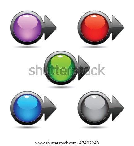 Square button pointer - stock vector