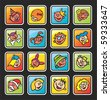 square buttons with faces of children - stock vector