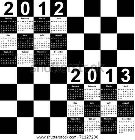 square calendar for 2012 and 2013 in form of chess board, Monday is the first day of the week. - stock vector
