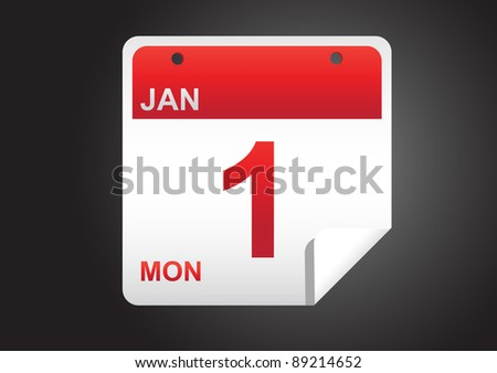 square calendar sticker , date can be easy replace & edited - stock vector