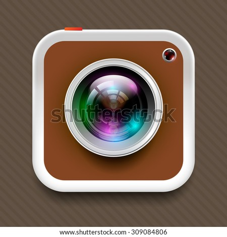 square camera icon and reflex lens on brown tone, In vector illustration format. - stock vector