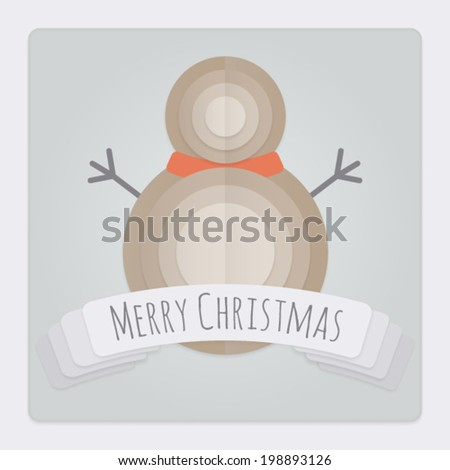Square Christmas card with a 3d layered folded paper Snowman design and banner with a Merry Christmas Message. This Vector is EPS10 and uses transparencies, clipping masks, gradient mesh and blends. - stock vector
