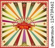 Square circus color card. A wonderful circus card with mullticolor sunbeams for a big party ! - stock photo