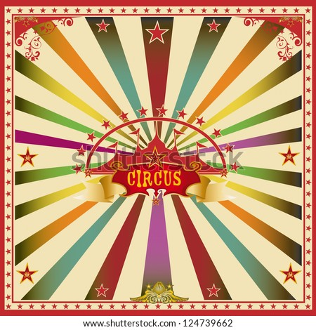 Square circus color card. A wonderful circus card with mullticolor sunbeams for a big party ! - stock vector