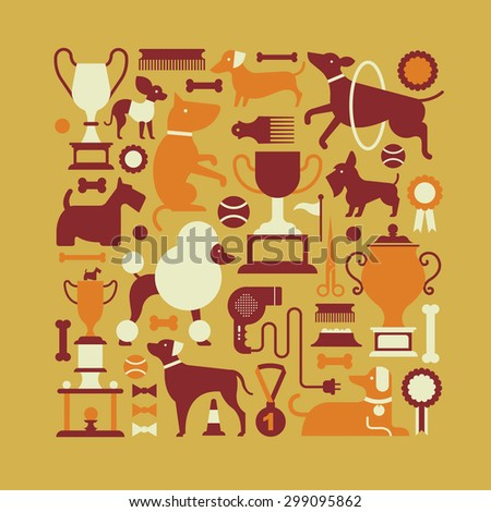 Square composition with dog silhouettes and accessories. - stock vector