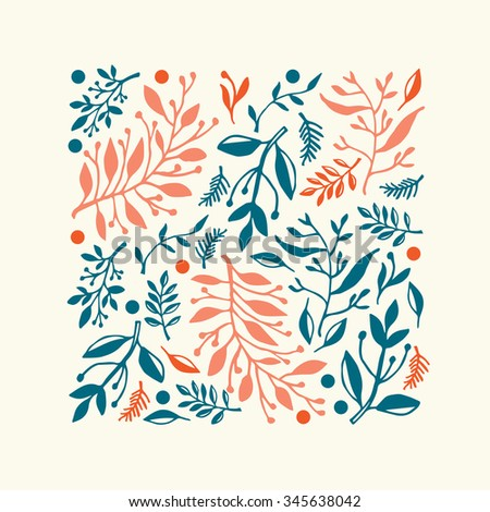 Square composition with hand drawn leaves and plants, could be used as greeting card or invitation - stock vector