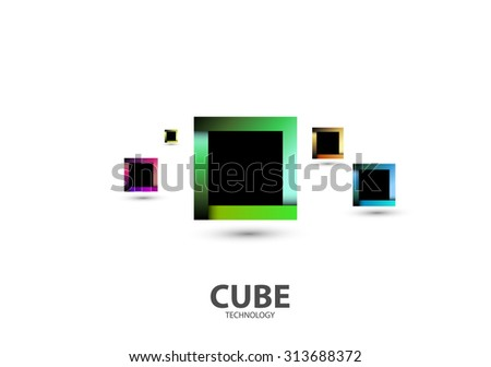 Square Cube Logo, Abstract Business Technology Icon, editable vector - stock vector