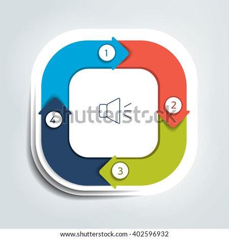 Square Divided Four Parts Arrows Template Stock Vector 402596932