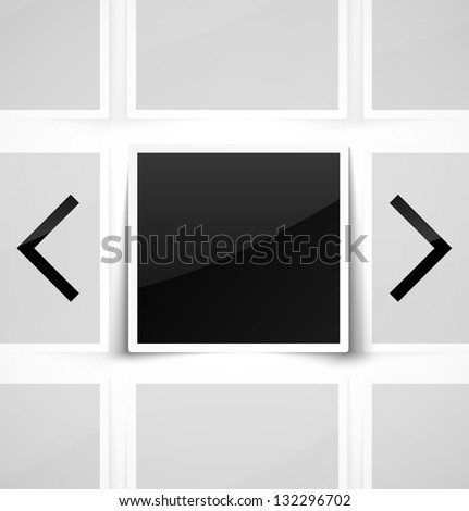 Square empty photo frame as image gallery. Vector illustration - stock vector