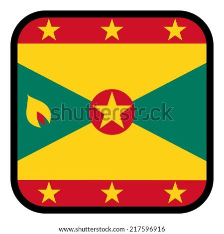Square flag button series - Grenada - stock vector