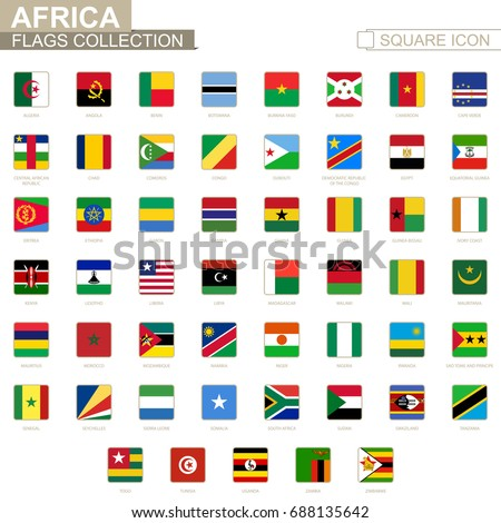 Square flags of Africa. From Algeria to Zimbabwe. Vector Illustration.