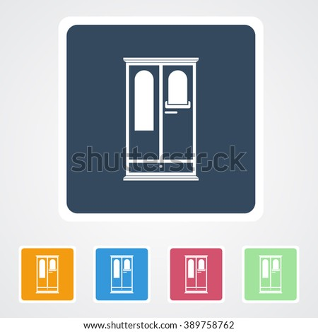 Square flat buttons icon of Cupboard Or Wardrobe. Eps-10.