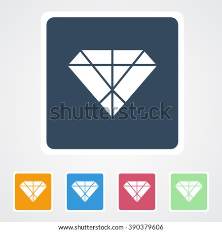 Square flat buttons icon of Diamond. Eps-10.