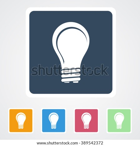 vector square blue icon lighting bulb. square flat buttons icon of idea or bulb eps10 vector blue lighting d