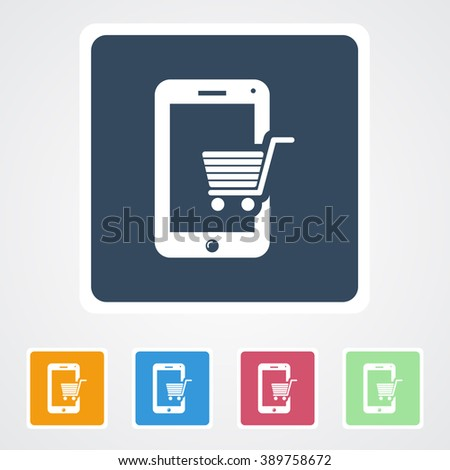 Square flat buttons icon of Online Shopping. Eps-10. - stock vector