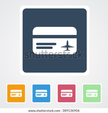 Square flat buttons icon of Travel card. Eps-10. - stock vector