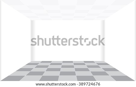 Square floors in the withe room - stock vector