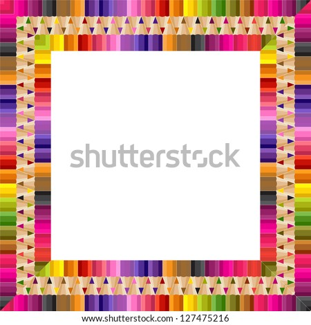 Square frame from color pencils - stock vector